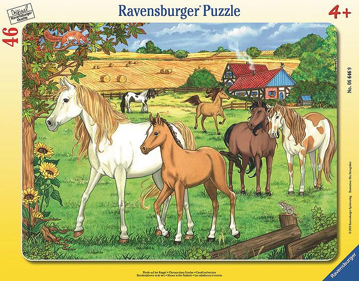 Ravensburger Загон для лошадей. Пазл, 46 элементов06646Пазл Ravensburger Загон для лошадей включает 46 элементов, из которых ваш ребенок сможет собрать яркую картинку с изображением лошадок в большом загоне. В комплекте предусмотрена рамка, которой малыш может воспользоваться в процессе работы или для того, чтобы повестить готовую картинку на стену. Элементы пазла имеют разный размер; для каждого предусмотрено свое место. Пазлы - прекрасное антистрессовое средство для взрослых и замечательная развивающая игра для детей. Собирание пазла развивает у ребенка мелкую моторику рук, тренирует наблюдательность, логическое мышление, знакомит с окружающим миром, с цветом и разнообразными формами, учит усидчивости и терпению, аккуратности и вниманию. Собирание пазла - прекрасное времяпрепровождение для всей семьи.