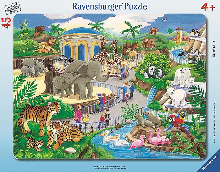 Ravensburger Прогулка по зоопарку. Пазл, 45 элементов06661Пазл Ravensburger Прогулка по зоопарку включает 45 элементов, из которых ваш ребенок сможет собрать яркую картинку с изображением зоопарка, его посетителей и животных. В комплекте предусмотрена рамка, которой малыш может воспользоваться в процессе работы или для того, чтобы повестить готовую картинку на стену. Элементы пазла имеют разный размер; для каждого предусмотрено свое место. Пазлы - прекрасное антистрессовое средство для взрослых и замечательная развивающая игра для детей. Собирание пазла развивает у ребенка мелкую моторику рук, тренирует наблюдательность, логическое мышление, знакомит с окружающим миром, с цветом и разнообразными формами, учит усидчивости и терпению, аккуратности и вниманию. Собирание пазла - прекрасное времяпрепровождение для всей семьи.