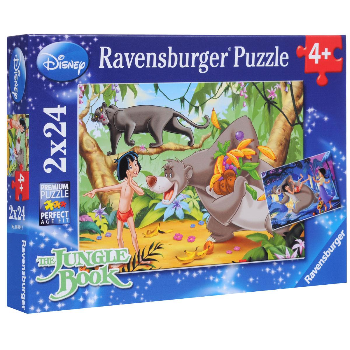 Ravensburger Маугли и друзья. Пазл, 2 х 24 элементов08894Пазл Ravensburger Маугли и друзья, без сомнения, придется по душе вам и вашему малышу. В набор входят два замечательных пазла по 24 элемента с героями мультфильма Книга джунглей. Маугли - это маленький мальчик, который оказался совершенно один в джунглях еще младенцем. Его взяли себе на воспитание пантера Багира и медведь Балу. На первом пазле изображены Маугли, Балу и Багира, а на второй картинке Балу, Маугли и девочка из деревни, которая нравится мальчику. Каждая деталь имеет свою форму и подходит только на своё место. Нет двух одинаковых деталей! Пазл изготовлен из картона высочайшего качества. Все изображения аккуратно отсканированы и напечатаны на ламинированной бумаге. Пазл - великолепная игра для семейного досуга. Сегодня собирание пазлов стало особенно популярным, главным образом, благодаря своей многообразной тематике, способной удовлетворить самый взыскательный вкус. А для детей это не только интересно, но и полезно. Собирание пазла развивает мелкую...