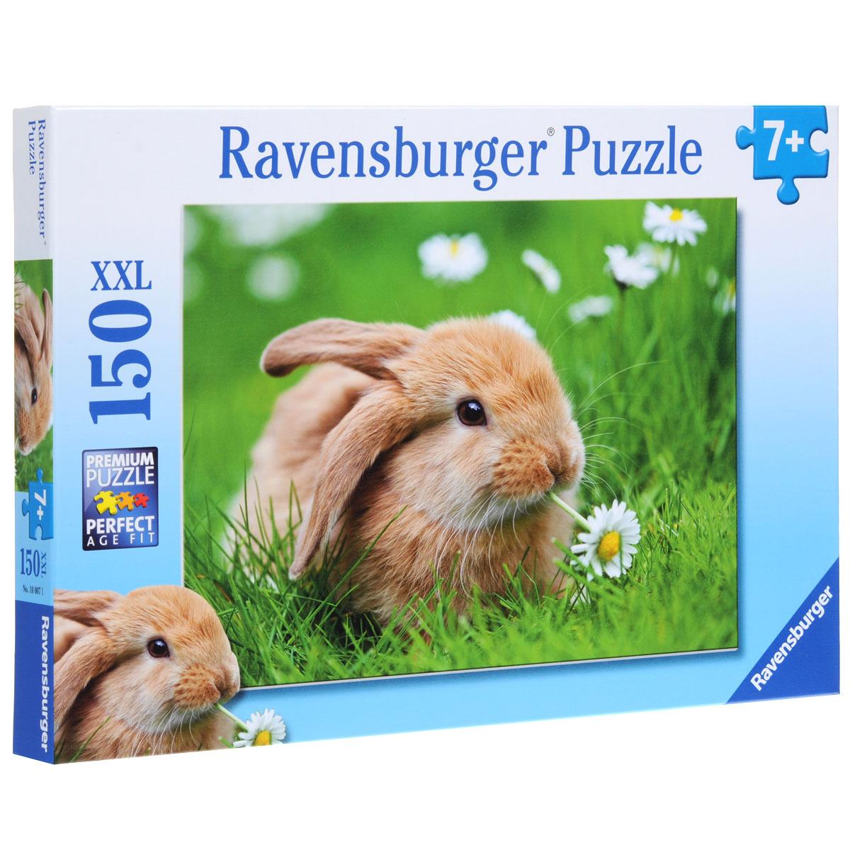 Ravensburger Кролик в ромашках. Пазл XXL, 150 элементов10007Пазл XXL Ravensburger Кролик в ромашках, без сомнения, придется по душе вам и вашему малышу. Собрав этот пазл, включающий в себя 150 крупных элементов, вы получите великолепную картину с изображением рыжего кролика, который сидит в ромашках. Каждая деталь имеет свою форму и подходит только на своё место. Нет двух одинаковых деталей! Пазл изготовлен из картона высочайшего качества. Все изображения аккуратно отсканированы и напечатаны на ламинированной бумаге. Пазл - великолепная игра для семейного досуга. Сегодня собирание пазлов стало особенно популярным, главным образом, благодаря своей многообразной тематике, способной удовлетворить самый взыскательный вкус. А для детей это не только интересно, но и полезно. Собирание пазла развивает мелкую моторику у ребенка, тренирует наблюдательность, логическое мышление, знакомит с окружающим миром, с цветом и разнообразными формами.