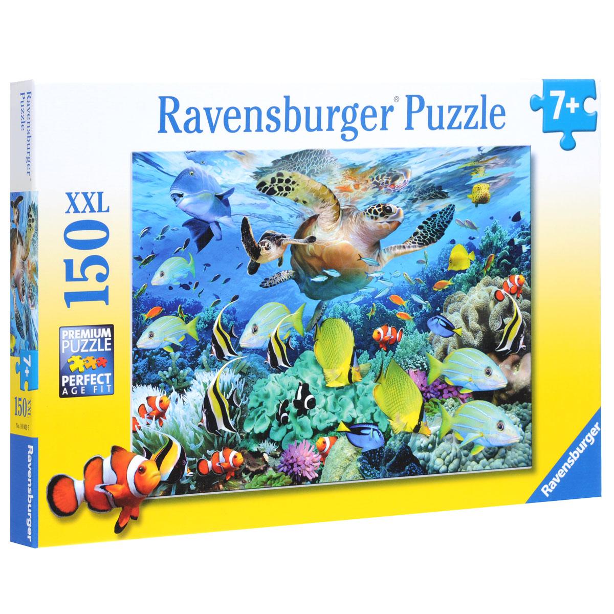 Ravensburger Коралловый риф. Пазл XXL, 150 элементов10009Пазл XXL Ravensburger Коралловый риф, без сомнения, придется по душе вам и вашему малышу. Собрав этот пазл, включающий в себя 150 крупных элементов, вы получите великолепную картину с изображением кораллового рифа, поражающего своей необычайной красотой. На картинке изображена насыщенная жизнь кораллового рифа, с его рыбками, водорослями и черепахами. Каждая деталь имеет свою форму и подходит только на своё место. Нет двух одинаковых деталей! Пазл изготовлен из картона высочайшего качества. Все изображения аккуратно отсканированы и напечатаны на ламинированной бумаге. Пазл - великолепная игра для семейного досуга. Сегодня собирание пазлов стало особенно популярным, главным образом, благодаря своей многообразной тематике, способной удовлетворить самый взыскательный вкус. А для детей это не только интересно, но и полезно. Собирание пазла развивает мелкую моторику у ребенка, тренирует наблюдательность, логическое мышление, знакомит с окружающим миром, с цветом и ...
