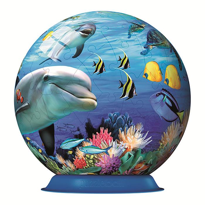 Ravensburger 3D Пазл Подводный мир12128Объемные 3D-пазлы Ravensburger - это уникальная серия пазлов, которые позволяют создать фигуры в форме шара с красочными рисунками на любой вкус. Пазл Подводный мир представляет собой шар из 72 элементов, оформленный красочным изображением плывущих в море дельфинов. Детали пазла изготовлены из прочного высококачественного пластика и имеют особую изогнутую форму, идеально стыкуются друг с другом. Технология легкого щелчка позволяет легко собрать прочный шар. Точно подходящие детали делают конструкцию очень устойчивой, скрепление деталей клеем не требуется. Каждая деталь с внутренней стороны пронумерована для облегчения сборки. Собирание такой головоломки тренирует тонкую моторику и пространственное мышление. Пазл - великолепная игра для семейного досуга. Сегодня собирание пазлов стало особенно популярным, главным образом, благодаря своей многообразной тематике, способной удовлетворить самый взыскательный вкус. А для детей это не только интересно,...