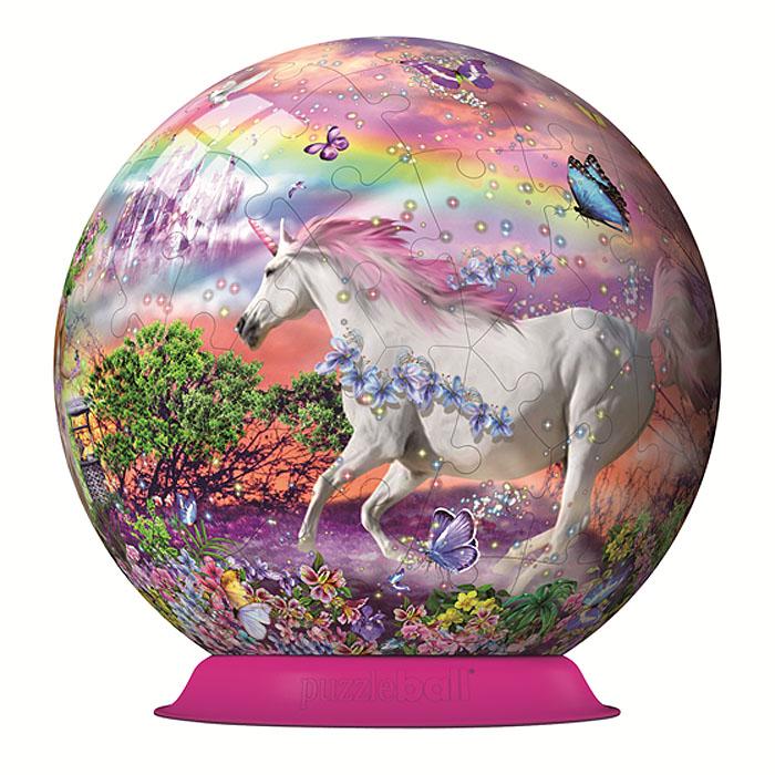 Ravensburger 3D Пазл Единороги12129Объемные 3D-пазлы Ravensburger - это уникальная серия пазлов, которые позволяют создать фигуры в форме шара с красочными рисунками на любой вкус. Пазл Единороги представляет собой шар из 72 элементов, оформленный красочным изображением волшебного единорога. Детали пазла изготовлены из прочного высококачественного пластика и имеют особую изогнутую форму, идеально стыкуются друг с другом. Технология легкого щелчка позволяет легко собрать прочный шар. Точно подходящие детали делают конструкцию очень устойчивой, скрепление деталей клеем не требуется. Каждая деталь с внутренней стороны пронумерована для облегчения сборки. Собирание такой головоломки тренирует тонкую моторику и пространственное мышление. Пазл - великолепная игра для семейного досуга. Сегодня собирание пазлов стало особенно популярным, главным образом, благодаря своей многообразной тематике, способной удовлетворить самый взыскательный вкус. А для детей это не только интересно, но и...
