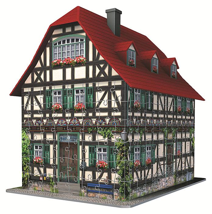 Ravensburger Средневековый дом. Объемный 3D-пазл, 216 элементов12572Объемные 3D-пазлы Ravensburger позволяют создать объемную трехмерную фигуру. Детали пазла изготовлены из прочного высококачественного пластика и имеют изогнутую, плоскую и гибкую форму. Все элементы пронумерованы, поэтому с помощью специальной инструкции пазл будет несложно собрать, главное внимание и концентрация. Точно подходящие детали делают конструкцию очень устойчивой, скрепление деталей клеем не требуется. Дополнительные аксессуары придают зданию законченный вид. В эту серию входят пазлы, которые воссоздают образы известных башен и небоскребов мира. Ваш ребенок сможет собрать Пизанскую башню, Бранденбургские ворота, Кильдинский Северный маяк, Биг Бен и небоскреб Empire State Building. Пазл - великолепная игра для семейного досуга. Сегодня собирание пазлов стало особенно популярным, главным образом, благодаря своей многообразной тематике, способной удовлетворить самый взыскательный вкус. А для детей это не только интересно, но и полезно. Собирание пазла...
