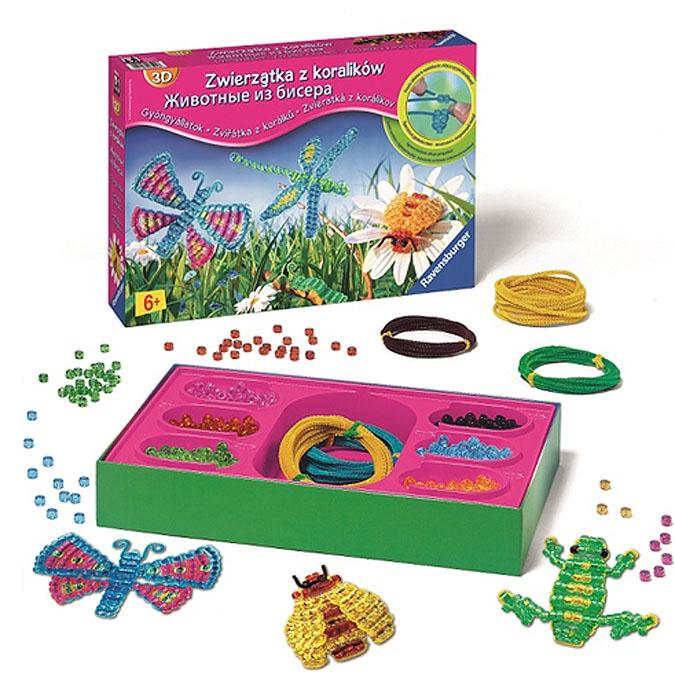 Набор для бисероплетения Ravensburger Животные18594Набор для бисероплетения Животные позволит вам создать своими руками объемных животных и насекомых. Просто нанизывайте бисер на цветную проволоку, а потом придавайте ей форму. Включив фантазию, у вас получатся самые разнообразные фигурки - радужная стрекоза, красочная бабочка, гусеница, пчелка, лягушка, змея. В набор входят бисер 6 цветов (зеленого, розового, голубого, черного, желтого, оранжевого), цветная проволока 4 цветов (общая длина 23 м) и иллюстрированная брошюра. Готовыми поделками можно украсить комнату, использовать их как игрушку или подарить своим родителям. Плетение из бисера - не только интересное, но и очень полезное занятие. Оно развивает воображение, учит работать с цветом и формами, вырабатывает аккуратность и усидчивость. Порадуйте вашего ребенка таким замечательным подарком!