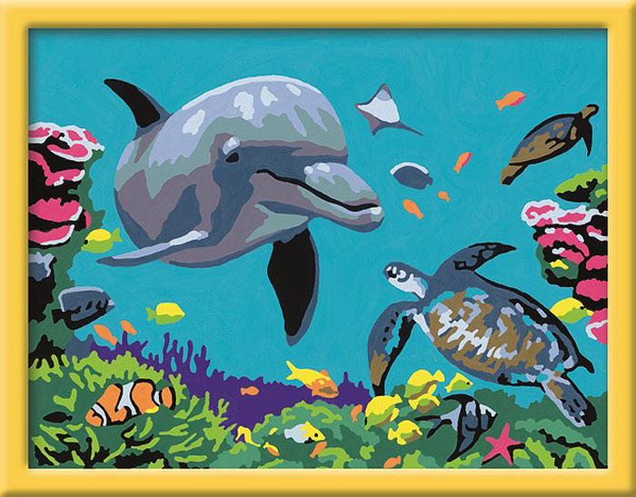 Ravensburger Раскрашивание по номерам Подводный мир28246Раскрашивание по номерам развивает творческие способности, художественный вкус, внимание и усидчивость. Увлекательные занятия живописью с набором Дельфин и черепаха от Ravensburger никого не оставят равнодушным. Картина раскрашивается без смешивания красок. Все необходимые цвета красок есть в комплекте. Просто закрашивайте участки красками с соответствующим номером.