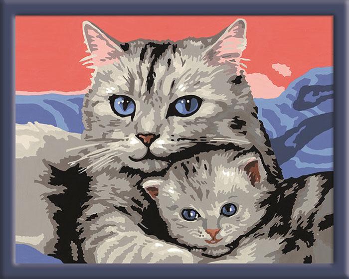 Ravensburger Раскрашивание по номерам Кошка с котенком