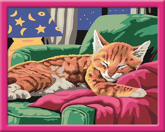 Ravensburger Набор для рисования по номерам Спящий котенок, 30 см х 24 см28425Набор для рисования по номерам Ravensburger Спящий котенок поможет создать красивую картину. Такой набор понравится детям и взрослым, и подойдет даже тем, кто совершенно не умеет рисовать. В набор входит картонная основа с контурами рисунка, тренировочный лист с рисунком, 2 подставки для красок в форме палитры, кисть и краски 20 цветов. Каждая краска в наборе имеет свой номер, соответствующий номеру области на основе для рисунка. Нужно только аккуратно нанести необходимую краску на отмеченный участок. Таким образом, шаг за шагом у вас получится великолепная картина. С помощью такого набора вы и ваш ребенок сможете стать настоящим художником и создателем прекрасных картин. Вы получите истинное удовольствие от погружения в процесс творчества, а созданная своими руками картина с изображением очаровательного спящего котенка украсит интерьер вашего дома или станет прекрасным подарком. Техника раскрашивания по номерам дает возможность легко рисовать даже сложные сюжеты....