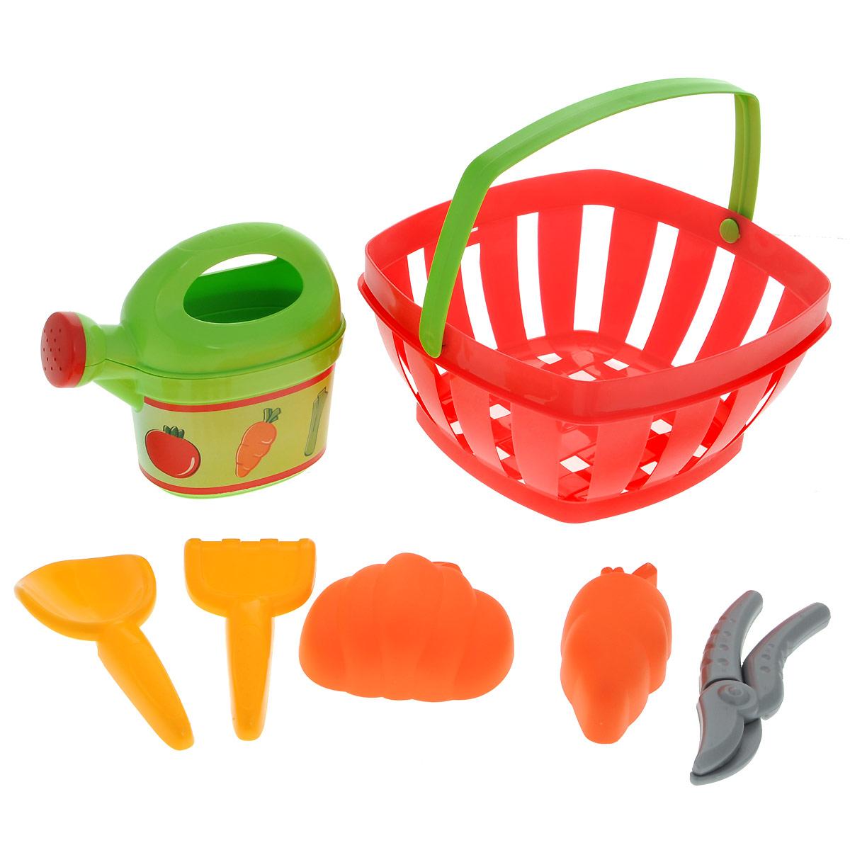 Ecoiffier Игровой набор Для огорода, 7 предметов567Игровой набор Ecoiffier Для огорода включает в себя лейку, совок, грабельки, секатор, две формочки в виде морковки и тыковки и удобную корзину с ручками. Лейка оснащена ручкой; верхняя часть снимается, позволяя легко наполнить емкость. Игрушки, выполненные из пластика, удобны для детской ладони, не имеют острых углов и абсолютно безопасны для ребенка. Этот замечательный набор для огорода отлично подойдет для различных детских ролевых игр.