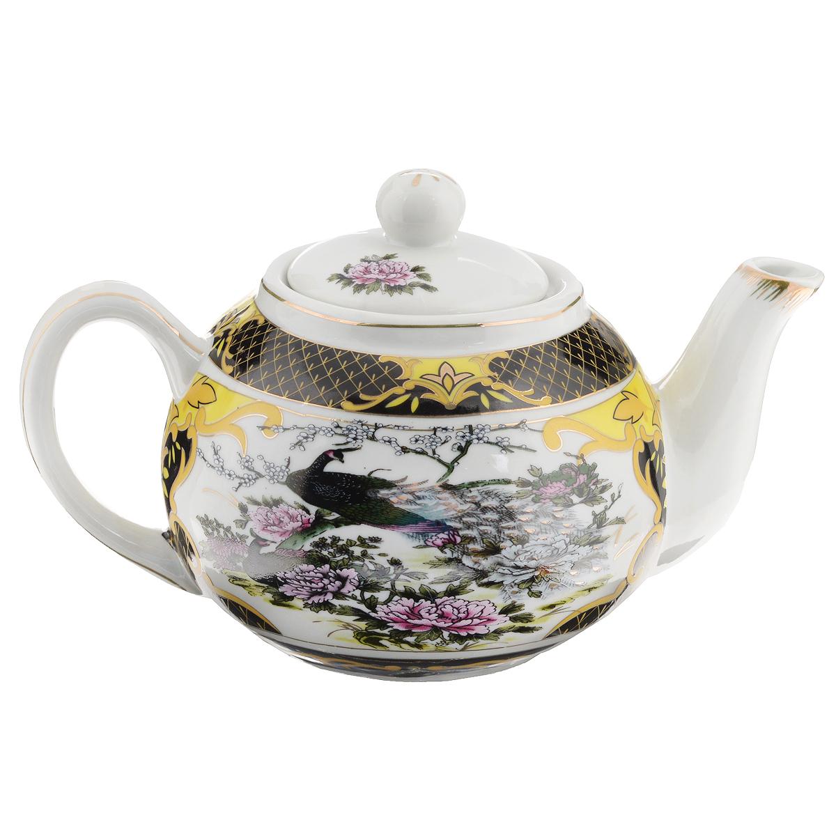 Чайник заварочный Briswild Сказочный павлин, 700 мл. 523-123523-123Чайник заварочный Briswild Сказочный павлин изготовлен из высококачественного фарфора. Чайник декорирован изображением павлинов и золотой каймой. Такой дизайн, несомненно, придется по вкусу и любителям классики, и тем кто ценит красоту и изящество. Чайник заварочный Briswild Сказочный павлин украсит ваш кухонный стол, а также станет замечательным подарком к любому празднику. Не использовать в микроволновой печи. Не применять абразивные чистящие вещества. Объем: 700 мл. Размеры чайника без крышки (ДхШхВ): 20 см х 11,5 см х 9 см.