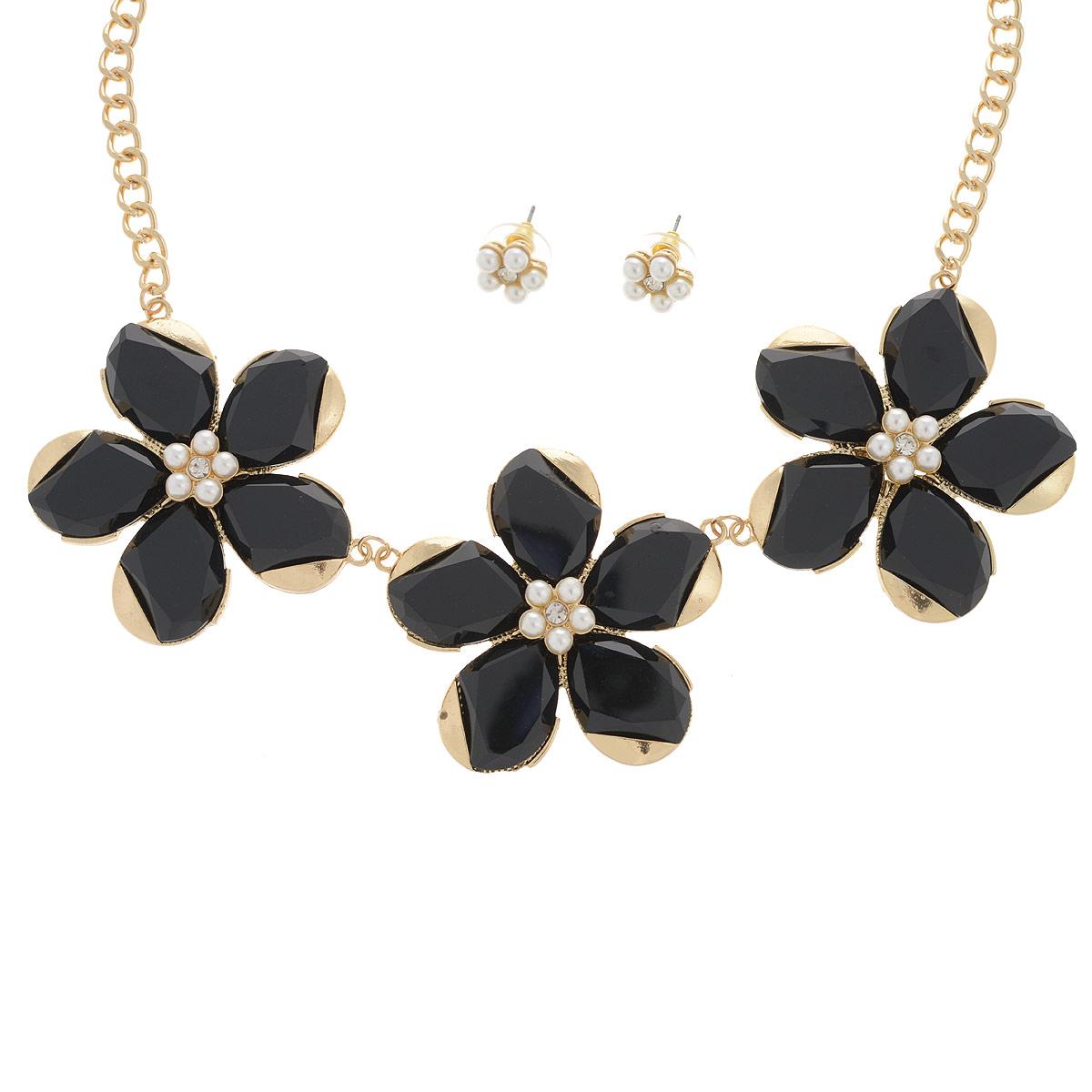 Комплект украшений 'AtStyle247': колье, серьги, цвет: золотистый, черный. T-B-8307-SET-GD.BLACK