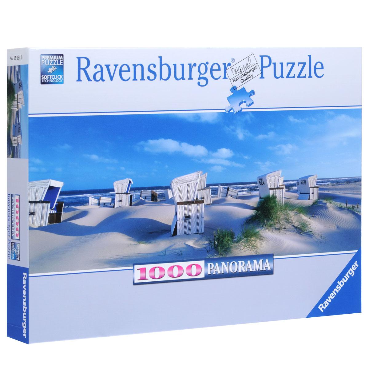 Ravensburger Пляжные корзинки на Зюльте. Пазл панорамный, 1000 элементов15054Панорамный пазл Ravensburger Пляжные корзинки на Зюльте, без сомнения, придется по душе вам и вашему ребенку. Собрав этот пазл, включающий в себя 1000 элементов, вы получите великолепную панораму на острове Зюльт. Зюлт - это остров в Балтийском море, к северу от Германии. Он знаменит своими необыкновенными пляжами. На картинке изображены пляжные корзинки, в которых люди загорают во время отдыха. Пазл изготовлен по технологии Softclick, которая гарантирует 100% блокировку механизма. Каждая деталь имеет свою форму и подходит только на своё место. Нет двух одинаковых деталей! Пазл изготовлен из картона высочайшего качества. Все изображения аккуратно отсканированы и напечатаны на ламинированной бумаге. Пазл - великолепная игра для семейного досуга. Сегодня собирание пазлов стало особенно популярным, главным образом, благодаря своей многообразной тематике, способной удовлетворить самый взыскательный вкус. А для детей это не только интересно, но и полезно. Собирание пазла...