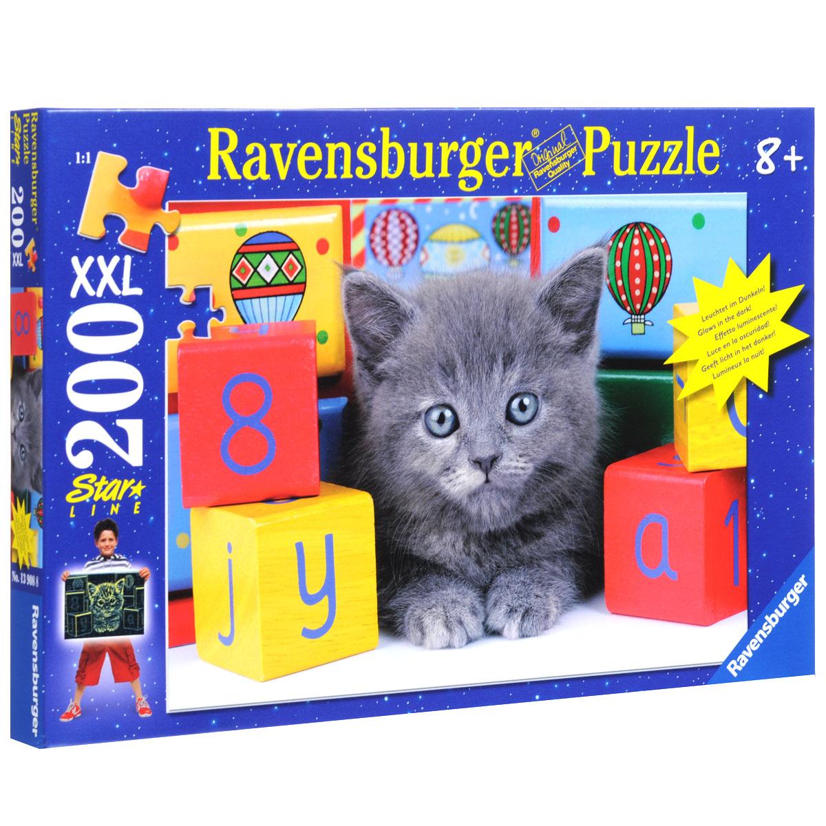 Ravensburger Котенок с кубиками. Пазл XXL, 200 элементов13908Пазл XXL Ravensburger Котенок с кубиками, без сомнения, придется по душе вам и вашему малышу. Собрав этот пазл, включающий в себя 200 элементов, вы получите великолепную картину с изображением очаровательного серого котенка, уютно расположившегося среди кубиков. Каждая деталь имеет свою форму и подходит только на своё место. Нет двух одинаковых деталей! Пазл изготовлен из картона высочайшего качества. Все изображения аккуратно отсканированы и напечатаны на ламинированной бумаге. Пазл - великолепная игра для семейного досуга. Сегодня собирание пазлов стало особенно популярным, главным образом, благодаря своей многообразной тематике, способной удовлетворить самый взыскательный вкус. А для детей это не только интересно, но и полезно. Собирание пазла развивает мелкую моторику у ребенка, тренирует наблюдательность, логическое мышление, знакомит с окружающим миром, с цветом и разнообразными формами.