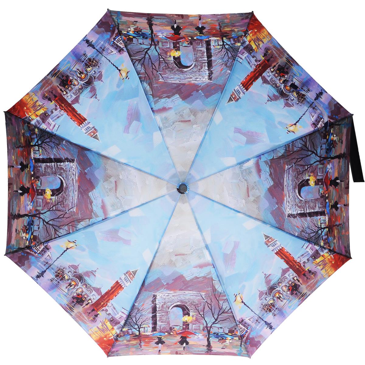 Зонт-трость женский Zest, полуавтомат, цвет: голубой, фиолетовый. 216255-77216255-77Эффектный полуавтоматический зонт-трость Zest даже в ненастную погоду позволит вам оставаться стильной и элегантной. Каркас зонта состоит из 8 спиц и прочного стержня. Специальная система Windproof защищает его от поломок во время сильных порывов ветра. Купол зонта выполнен из прочного полиэстера с водоотталкивающей пропиткой и оформлен изображением осени в Париже. Используемые высококачественные красители, а также покрытие Teflon обеспечивают длительное сохранение свойств ткани купола. Рукоятка закругленной формы, разработанная с учетом требований эргономики, выполнена из пластика серого цвета. Зонт имеет полуавтоматический механизм сложения: купол открывается нажатием на кнопку и закрывается вручную до характерного щелчка. Такой зонт не только надежно защитит вас от дождя, но и станет стильным аксессуаром, который идеально подчеркнет ваш неповторимый образ.