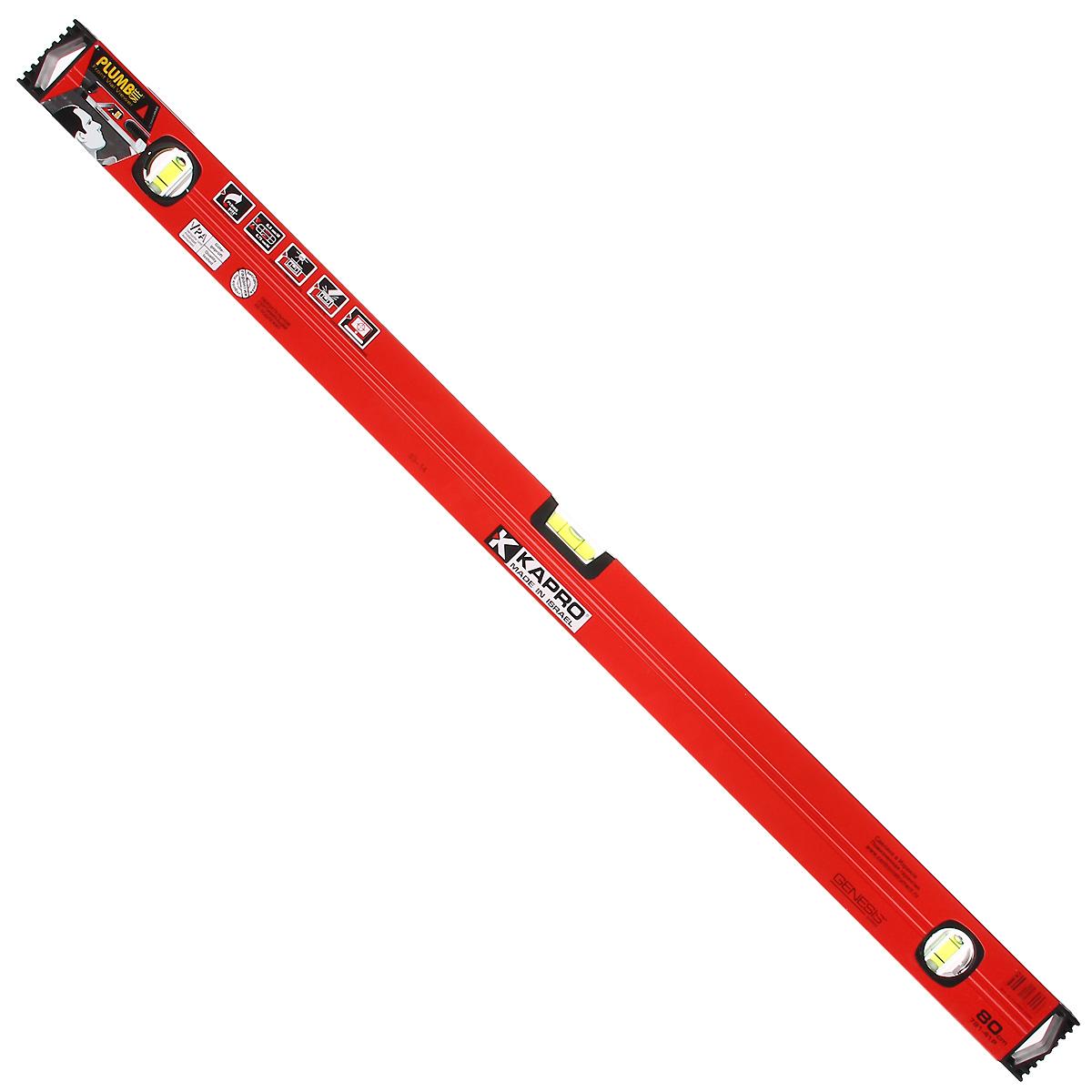 Уровень Kapro PlumbSite Genesis, 3 колбы, 80 см781-41-80Уровень Kapro PlumbSite Genesis используется при необходимости контроля горизонтальных и вертикальных плоскостей. Легкий металлический корпус уровня обеспечивает долгий срок эксплуатации. Оснащен 3 колбами.