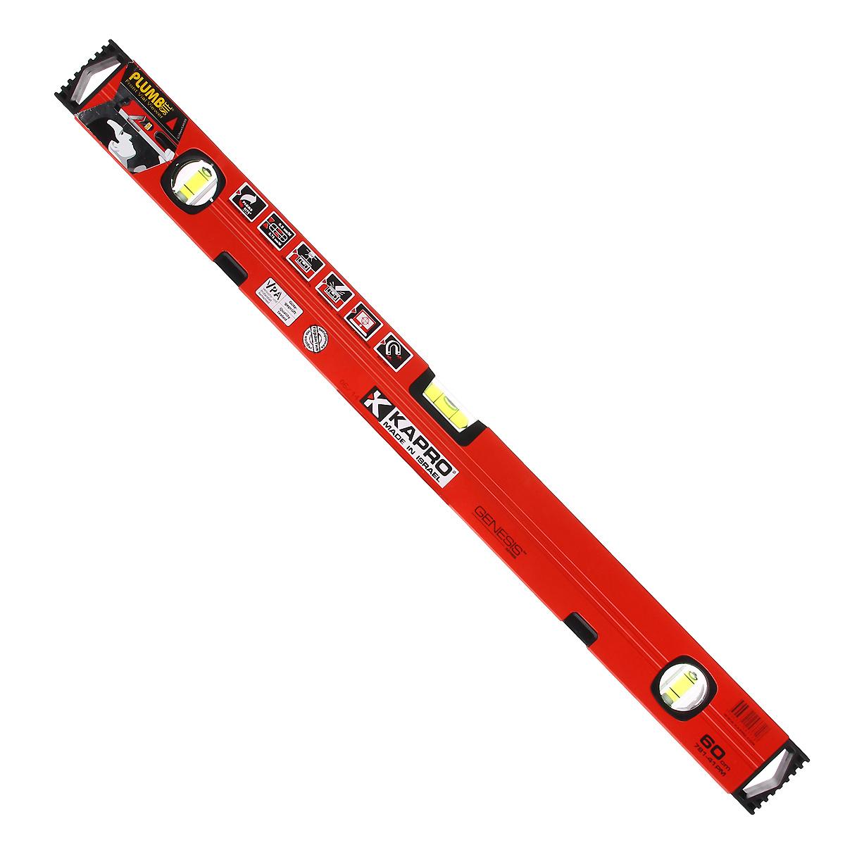 Уровень магнитный Kapro PlumbSite Genesis, 3 колбы, 60 см781-41-60РМУровень магнитный Kapro PlumbSite Genesis используется при необходимости контроля горизонтальных и вертикальных плоскостей. Легкий металлический корпус уровня обеспечивает долгий срок эксплуатации. Оснащен 3 колбами. Имеется магнит для фиксации на железном покрытии.