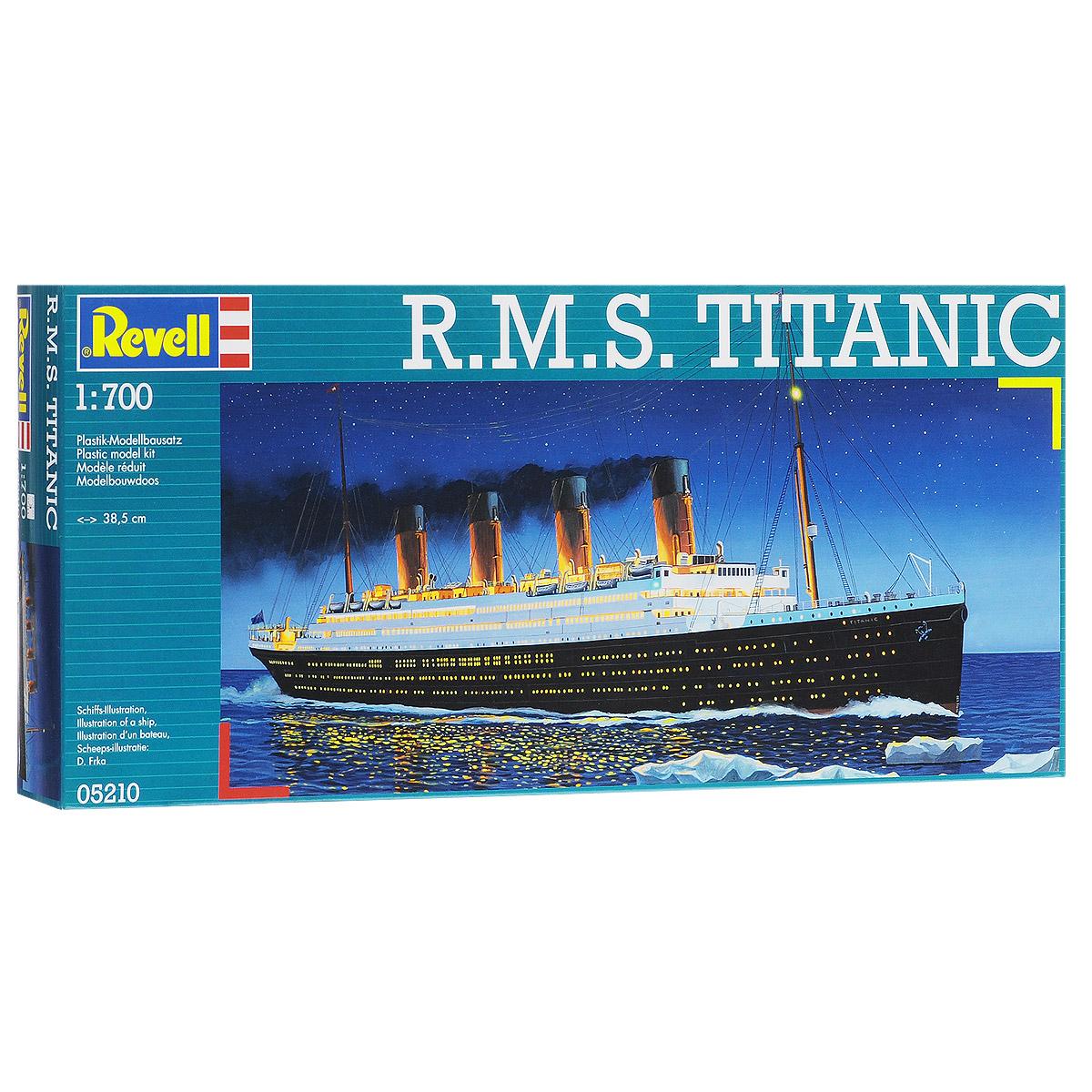 Сборная модель Revell Корабль R.M.S. Titanic, 132 элемента05210Сборная модель Revell Корабль R.M.S. Titanic поможет вам и вашему ребенку придумать увлекательное занятие на долгое время. Набор включает в себя 132 пластиковых элемента, из которых можно собрать достоверную уменьшенную копию одноименного корабля. Титаник (R.M.S. Titanic) - английский пароход произведенный компанией Уайт Стар Лайн, был вторым из трех кораблей-близнецов типа Олимпик. Самый большой пассажирский лайнер мира в свое время. Известен своим печальным первым и единственным рейсом -14 апреля 1912 года, во время которого столкнулся с айсбергом и в течении 2 часов 40 минут затонул. В тот момент на корабле находилось 908 членов экипажа, 1316 пассажиров, всего 2224 человека. Спастись смогли только 711 человек, 1513 погибло. Крушение Титаника стало легендарным, на основе этих событий было снято множество художественных фильмов. Также в наборе схематичная инструкция по сборке. Процесс сборки развивает интеллектуальные и инструментальные способности,...