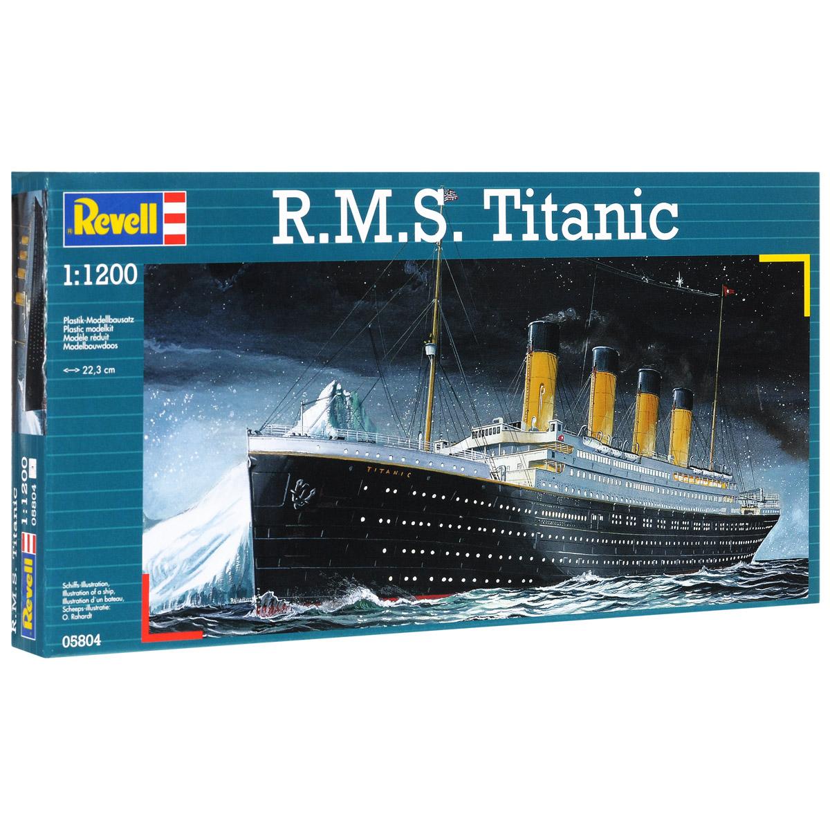 Сборная модель Revell Корабль R.M.S. Titanic, 40 элементов05804Сборная модель Revell Корабль R.M.S. Titanic поможет вам и вашему ребенку придумать увлекательное занятие на долгое время. Набор включает в себя 40 пластиковых элементов, из которых можно собрать достоверную уменьшенную копию одноименного корабля. Титаник (R.M.S. Titanic) - английский пароход произведенный компанией Уайт Стар Лайн, был вторым из трех кораблей-близнецов типа Олимпик. Самый большой пассажирский лайнер мира в свое время. Известен своим печальным первым и единственным рейсом -14 апреля 1912 года, во время которого столкнулся с айсбергом и в течении 2 часов 40 минут затонул. В тот момент на корабле находилось 908 членов экипажа, 1316 пассажиров, всего 2224 человека. Спастись смогли только 711 человек, 1513 погибло. Крушение Титаника стало легендарным, на основе этих событий было снято множество художественных фильмов. Также в наборе схематичная инструкция по сборке. Процесс сборки развивает интеллектуальные и инструментальные...