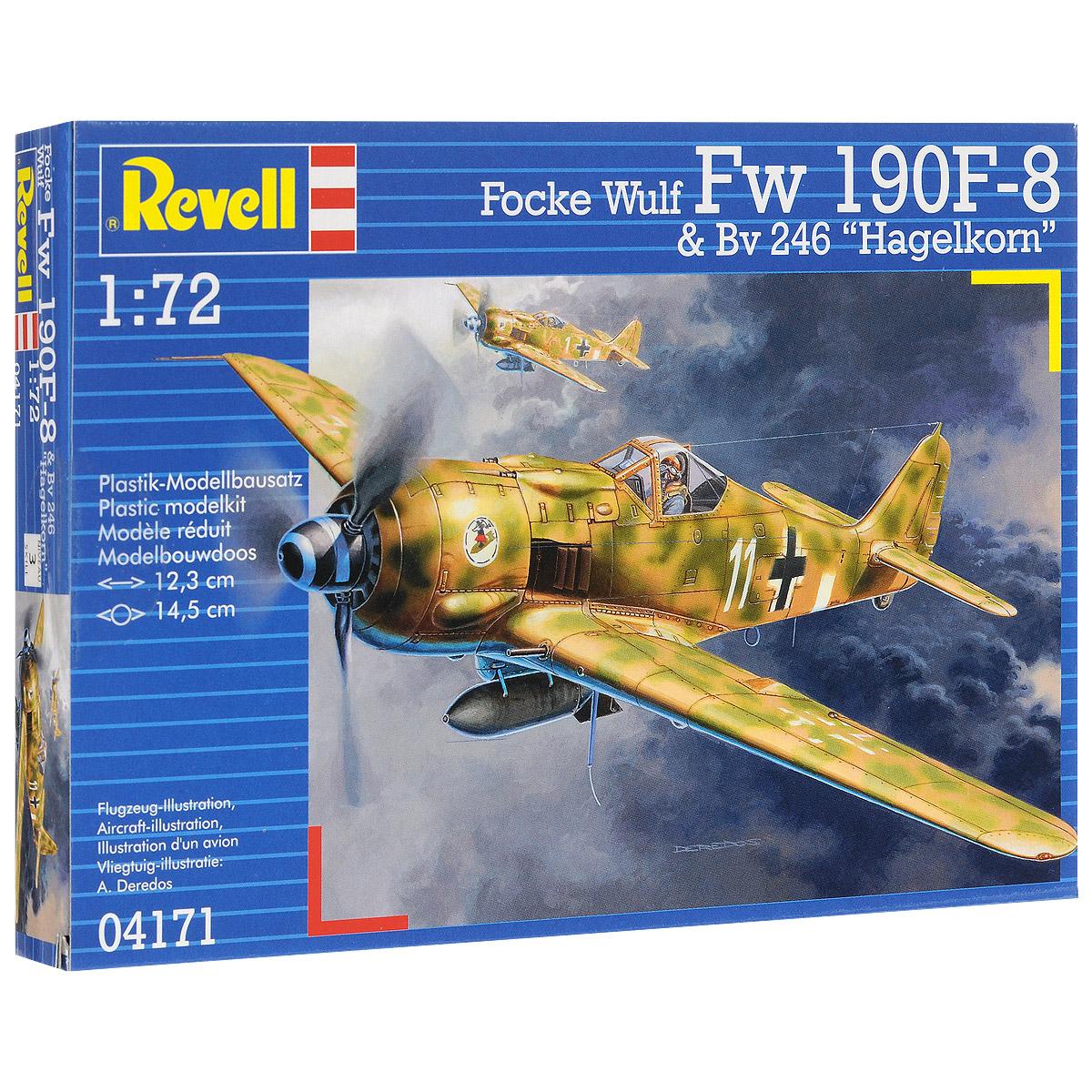 Сборная модель Revell Самолет Focke Wulf Fw 190 F-8 & Bv 246 Hagelkorn04171Сборная модель Revell Самолет Focke Wulf Fw 190 F-8 & Bv 246 Hagelkorn поможет вам и вашему ребенку придумать увлекательное занятие на долгое время. Набор включает в себя 57 пластиковых элементов, из которых можно собрать достоверную уменьшенную копию одноименного самолета. Первый полет самолет совершил за несколько месяцев до начала войны. В эскадрильи новые машины стали поступать лишь в начале 1941 года. На Восточном фронте Fw-190 впервые были задействованы под Ленинградом. Немецкая машина проигрывала основным советским истребителям в маневренности, но благодаря высокой скорости пикирования летчики Люфтваффе могли легко выходить из боя. В целом новый истребитель не давал им особых преимуществ перед советскими пилотами. Поэтому основным истребителем на Восточном фронте стал BF-109. Модификация Fw 190 А-8 создавалась, прежде всего, для борьбы с бомбардировщиками союзников. Машина получила усиленное бронирование и вооружение. Была установлена система форсажа, а...