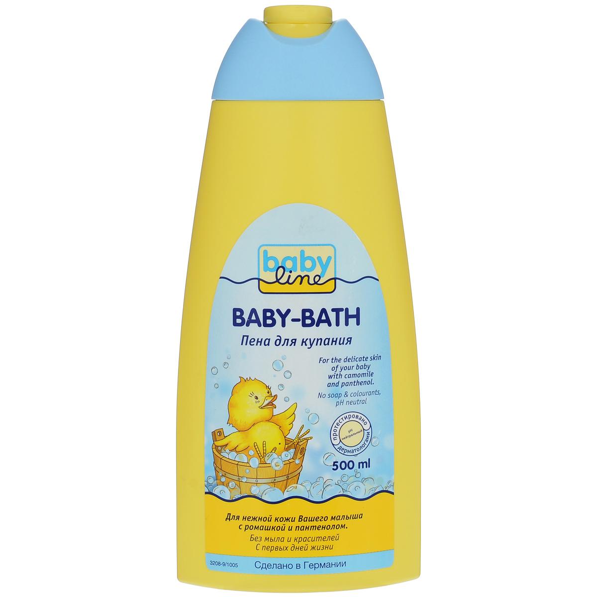 BabyLine Пена для купания, с ромашкой и пантенолом, 500 мл208036Пена для купания очищает нежно и мягко. Подходит для детей и взрослых. Товар сертифицирован.