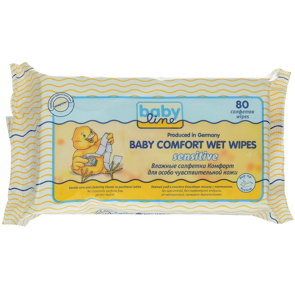 BabyLine Влажные салфетки Babe Comfort. Sensitivе, для особо чувствительной кожи, 80 шт208067Влажные салфетки Babe Comfort. Sensitivе нежно ухаживают и мягко очищают чувствительную кожу ребенка. Пропитаны лосьоном с пантенолом, который прекрасно увлажняет и защищает кожу от внешних воздействий и способствует предотвращению и заживлению раздражений кожи. Товар сертифицирован.