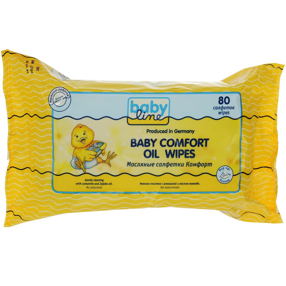 BabyLine Масляные салфетки Baby Comfort, с ромашкой и маслом жожоба, 80 шт208068Масляные салфетки идеальны для нежной и тщательной очистки в области подгузников. Состав с натуральным масло жожоба ухаживает за кожей, предохраняя ее от высыхания. Идеальны для прогулок и путешествий. Товар сертифицирован.
