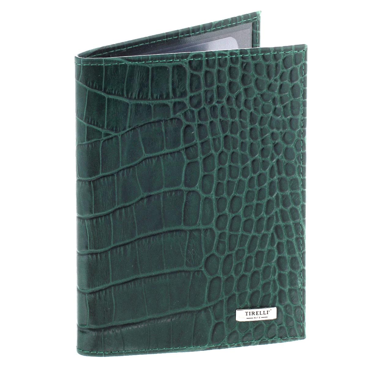 Бумажник водителя Tirelli Кроко, цвет: зеленый. BV-5/15-302-20BV-5/15-302-20Бумажник водителя Tirelli Кроко изготовлен из натуральной высококачественной кожи и декорирован тиснением под рептилию. На лицевой стороне изделие оформлено небольшой металлической пластиной с гравировкой Tirelli. Внутри содержится съемный блок из 6 пластиковых файлов (один из которых формата A5) для автодокументов, а также два прозрачных боковых кармана. Изделие упаковано в фирменную коробку. Такой бумажник не только защитит ваши документы, но и станет стильным аксессуаром, который прекрасно дополнит образ.