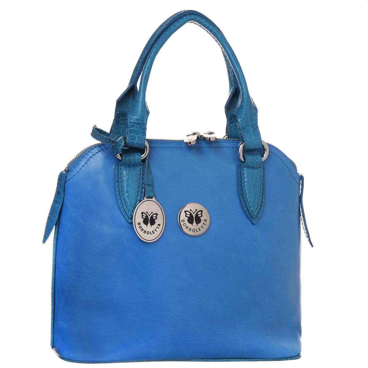 Сумка женская Borboletta, цвет: голубой. 21-0142-13-MEL/L-B/CR/L-B21-0142-13-MEL/L-B/CR/L-BСтильная женская сумка Borboletta выполнена из натуральной глянцевой кожи. Сумка имеет одно основное отделение, которое закрывается на застежку-молнию с двумя бегунками. Внутри имеется вшитый карман на застежке-молнии и два накладных кармашка для мелочей и мобильного телефона. Внешняя сторона оформлена металлической пластиной с логотипом бренда. Сумка оснащена двумя удобными ручками и широким основанием с четырьмя небольшими металлическими ножками. Сумка украшена подвеской в виде кожаного ремешка с металлическим декоративным элементом. К сумке прилагается чехол для хранения. Модная сумочка станет ярким акцентом вашего образа и подчеркнет ваш безупречный вкус.