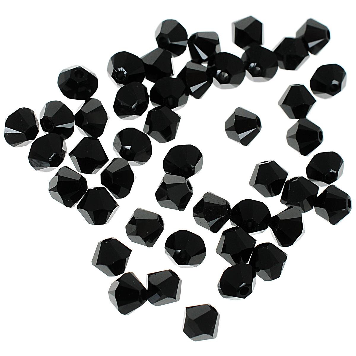 Бусины Swarovski Elements, цвет: черный (jet), диаметр 4 мм, 50 шт