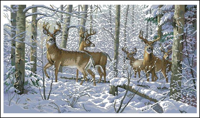 Набор для вышивания Dimensions Зима в лесу, 45 см х 25 смDMS-35130