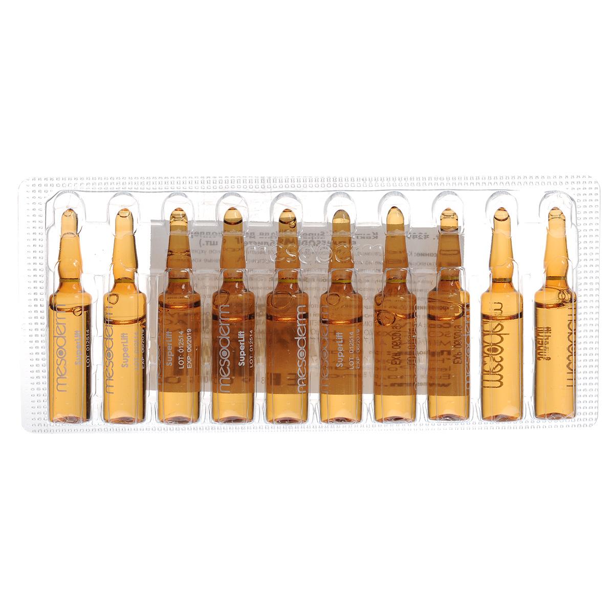 Mesoderm Коктейль-сыворотка для лица, шеи, области декольте SuperLift против увядающей кожи, для дермороллера, 10х5 мл424904Концентрированный коктейль, предназначенный для решения проблем увядающей кожи всех типов, а также для профилактики преждевременного старения. Использование коктейля в сочетании с дермароллером оказывает выраженный лифтинговый эффект наряду с превосходным увлажнением и повышением эластичности кожи. Применение дермароллера является одним из самых действенных современных методов для устранения морщин и сохранения здоровья и молодости кожи, без риска, боли и уколов. Использование дермароллера гарантировано уменьшает глубину морщин, как мимических, так и возрастных, значительно улучшает внешний вид и состояние кожи, независимо от возраста и типа кожи. Тончайшие микроканалы, созданные в коже микроиглами дермароллера во время процедуры, являются проводниками активных компонентов коктейля на необходимую глубину. Благодаря дермароллеру, эффективность действия компонентов коктейля повышается до 50%, что позволяет получить великолепный результат при минимально...