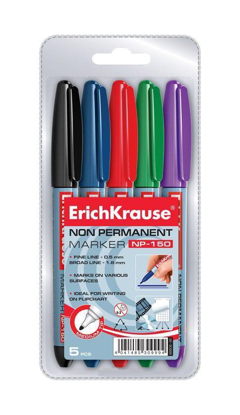 Набор неперманентных маркеров Erich Krause NP-150, 5 штEK30999Маркеры Erich Krause NP-150 - это универсальные многоцелевые маркеры эргономичной формы. Удобно лежат в руке. Рассчитаны для мобильного использования. Имеют клип для переноски. Маркеры предназначены для письма практически на всех поверхностях: бумага, картон, пленка, стекло, пластик, полистирол, фарфор. В наборе маркеры синено, красного, зеленого, фиолетового цветов.
