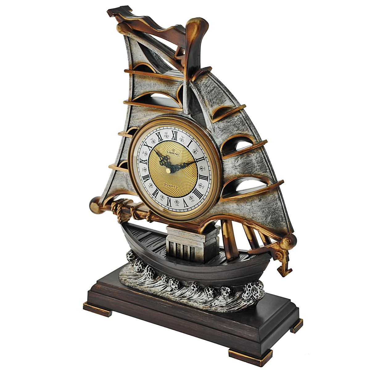 Часы настольные Lisheng Парусник. LI-983M-ALLI-983M-ALНастольные кварцевые часы Lisheng Парусник изготовлены из полистоуна бронзового цвета. Изделие выполнено в виде парусника. Циферблат круглой формы оформлен римскими цифрами и защищен пластиком. Часы имеют две стрелки - часовую и минутную. Настольные часы оригинального дизайна прекрасно оформят интерьер дома или рабочий стол в офисе. Размер часов: 32 см х 11,5 см х 41 см. Диаметр циферблата: 12 см.
