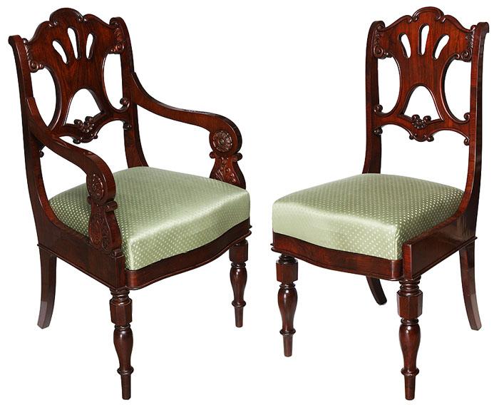 Комплект из кресла и стула. Массив ореха, резьба. Российская Империя, середина XIX векаОС27728Доставка возможна только по Москве и Санкт-Петербургу. Комплект из кресла и стула. Орех, резьба. Российская Империя, середина XIX века. Высота кресла - 100.0, ширина - 60.0, глубина сидения - 55.0 см. Высота стула - 95.0, ширина - 50.0, глубина сидения - 46.0 см. Мастер неизвестен. Проведена полная реставрация. Незначительное пятно на обивке кресла. Комплект относится к эпохе историзма и выполнен в стиле Второй империи. Кресло и стул украшены резьбой с растительным орнаментом. Изысканное украшение интерьера, которое тонко подчеркнет Ваш высокий статус и великолепный вкус! Антикварная мебель наполнит ваш дом благородством и изысканностью, подчеркнет особый вкус хозяина, вызовет неподдельное восхищение гостей и домочадцев. Вневременная классика и непреходящие ценности - принципиально иной уровень вкуса и стиля!
