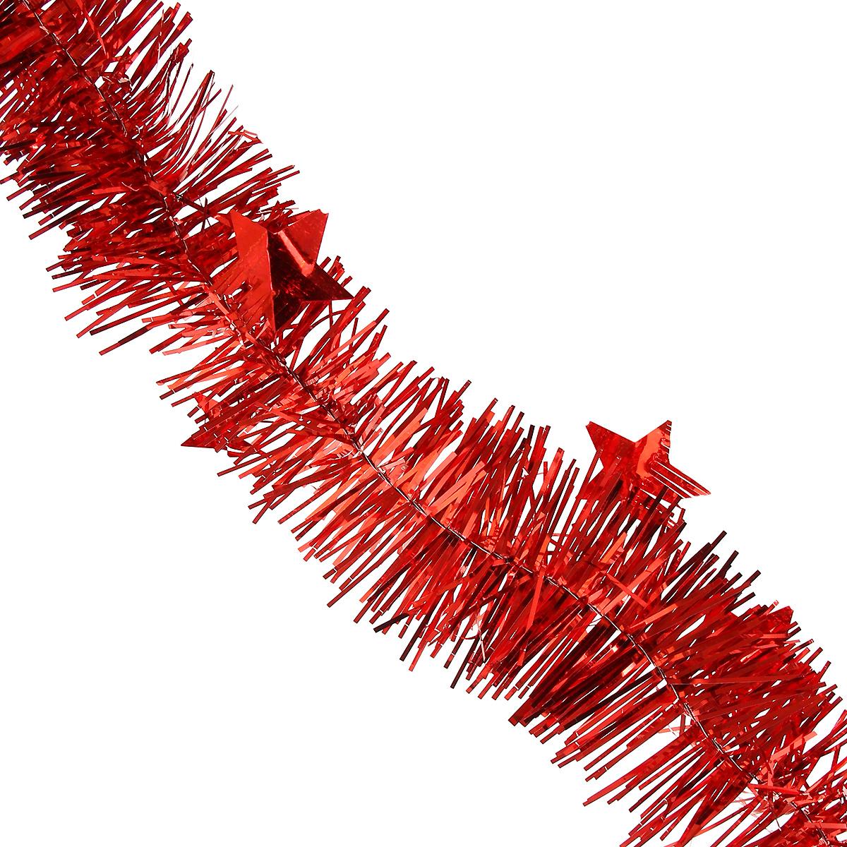 Мишура новогодняя Magic Time, со звездами, диаметр 6 см, длина 200 см, цвет: красный. 3489934899Новогодняя мишура Magic Time, выполненная из ПЭТ (Полиэтилентерефталат), поможет вам украсить свой дом к предстоящим праздникам. Изделие выполнено в виде скрученной косички. Новогодняя елка с таким украшением станет еще наряднее. Мишура армирована, то есть имеет проволоку внутри и способна сохранять форму. Новогодней мишурой можно украсить все, что угодно - елку, квартиру, дачу, офис - как внутри, так и снаружи. Можно сложить новогодние поздравления, буквы и цифры, мишурой можно украсить и дополнить гирлянды, можно выделить дверные колонны, оплести дверные проемы. Коллекция декоративных украшений из серии Magic Time принесет в ваш дом ни с чем несравнимое ощущение волшебства! Создайте в своем доме атмосферу тепла, веселья и радости, украшая его всей семьей.