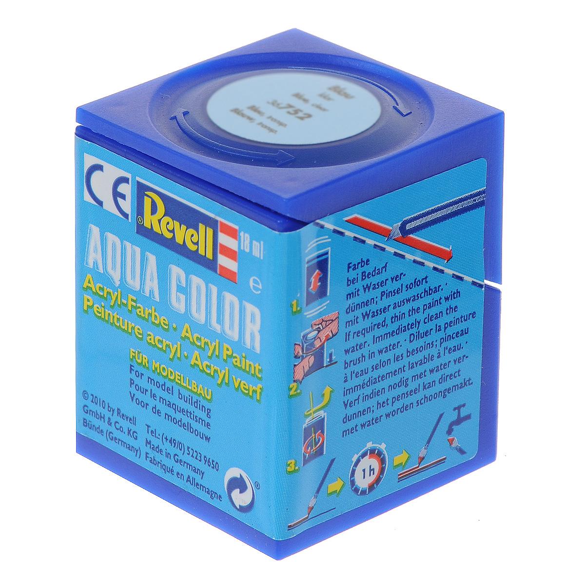 Revell Аква-краска прозрачная цвет голубой 18 мл36752Краски для моделей Revell - это высококачественный материал для покраски ваших моделей. Данная краска служит для окрашивания пластиковых поверхностей сборных моделей Revell. В баночке содержится 18 мл краски с прозрачным эффектом. В случае необходимости различные оттенки эмали могут быть смешаны друг с другом, для разбавления используется Revell Color Mix.