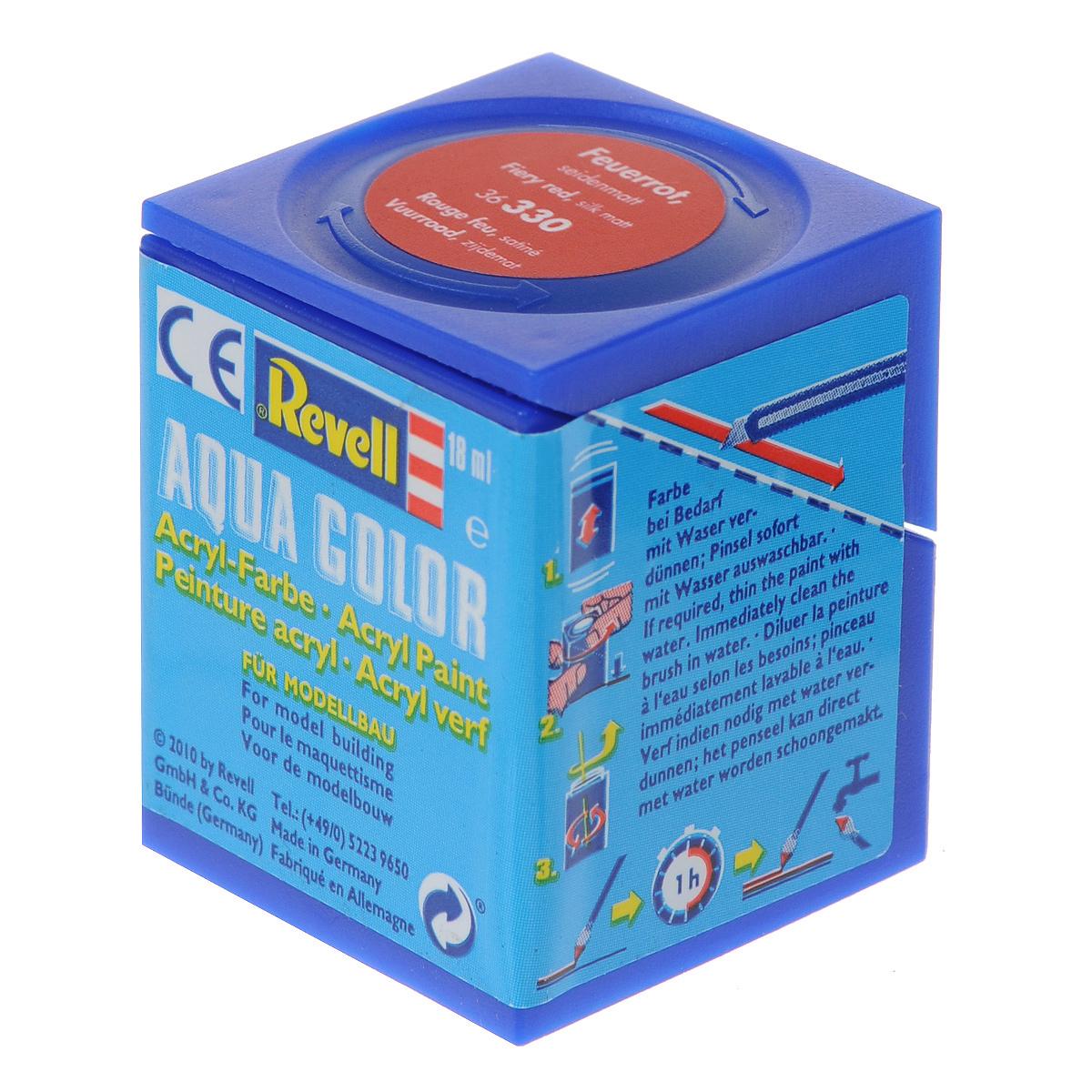 Revell Аква-краска шелково-матовая цвет огненно-красный 18 мл36330Краски для моделей Revell - это высококачественный материал для покраски ваших моделей. Данная краска служит для окрашивания пластиковых поверхностей сборных моделей Revell. В баночке содержится 18 мл краски с шелково-матовым эффектом. В случае необходимости различные оттенки эмали могут быть смешаны друг с другом, для разбавления используется Revell Color Mix.