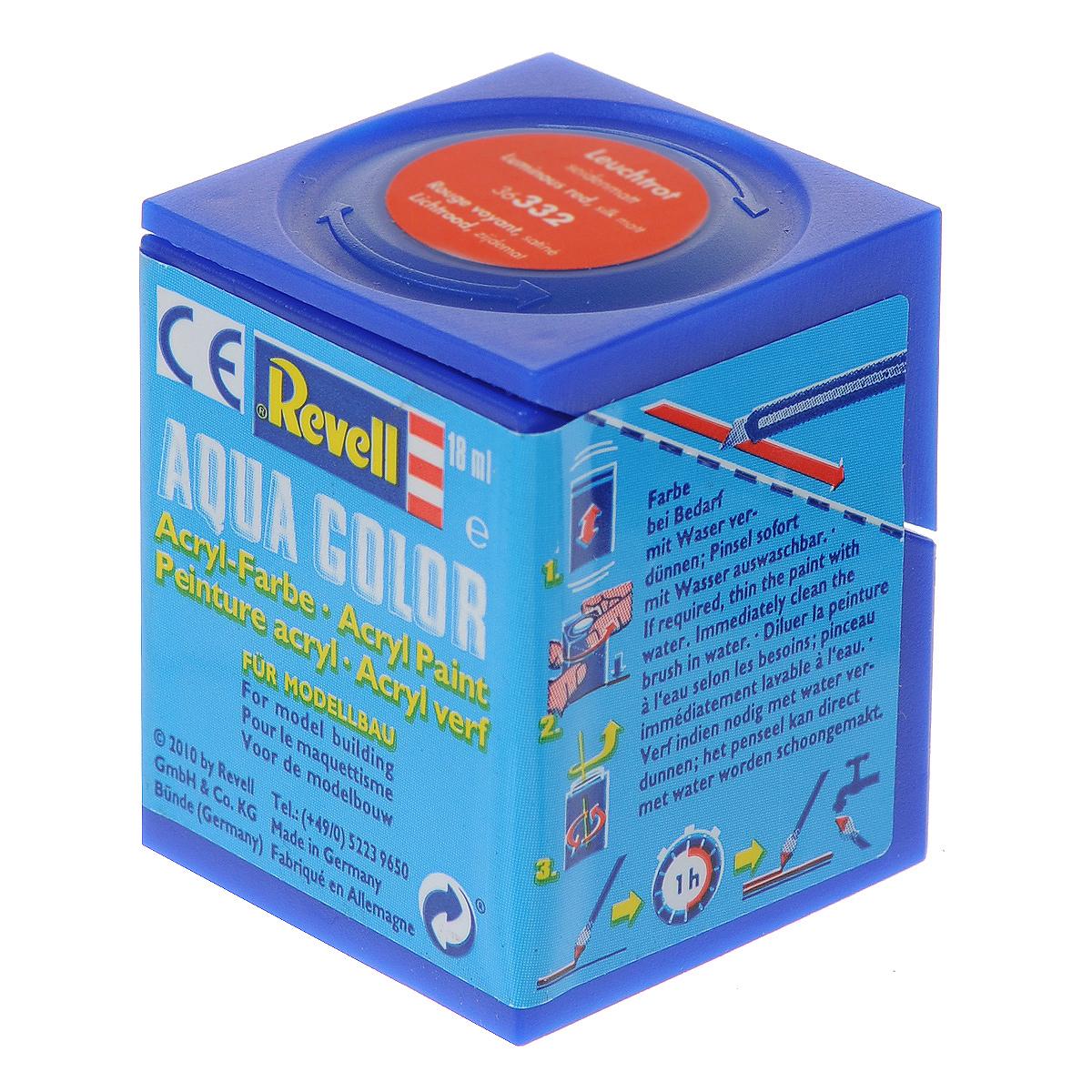Аква-краска Revell, шелково-матовая, светящаяся, цвет: красный, 18 мл. 3633236332Краски для моделей Revell - это высококачественный материал для покраски ваших моделей. Данная краска служит для окрашивания пластиковых поверхностей сборных моделей Revell. В баночке содержится 18 мл краски с шелково-матовым эффектом. Краска светится в темноте. В случае необходимости различные оттенки эмали могут быть смешаны друг с другом, для разбавления используется Revell Color Mix.