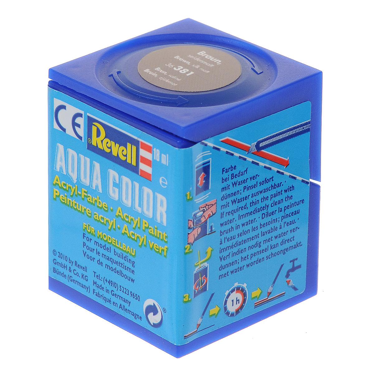 Revell Аква-краска шелково-матовая цвет коричневый 18 мл36381Краски для моделей Revell - это высококачественный материал для покраски ваших моделей. Данная краска служит для окрашивания пластиковых поверхностей сборных моделей Revell. В баночке содержится 18 мл краски с шелково-матовым эффектом. В случае необходимости различные оттенки эмали могут быть смешаны друг с другом, для разбавления используется Revell Color Mix.