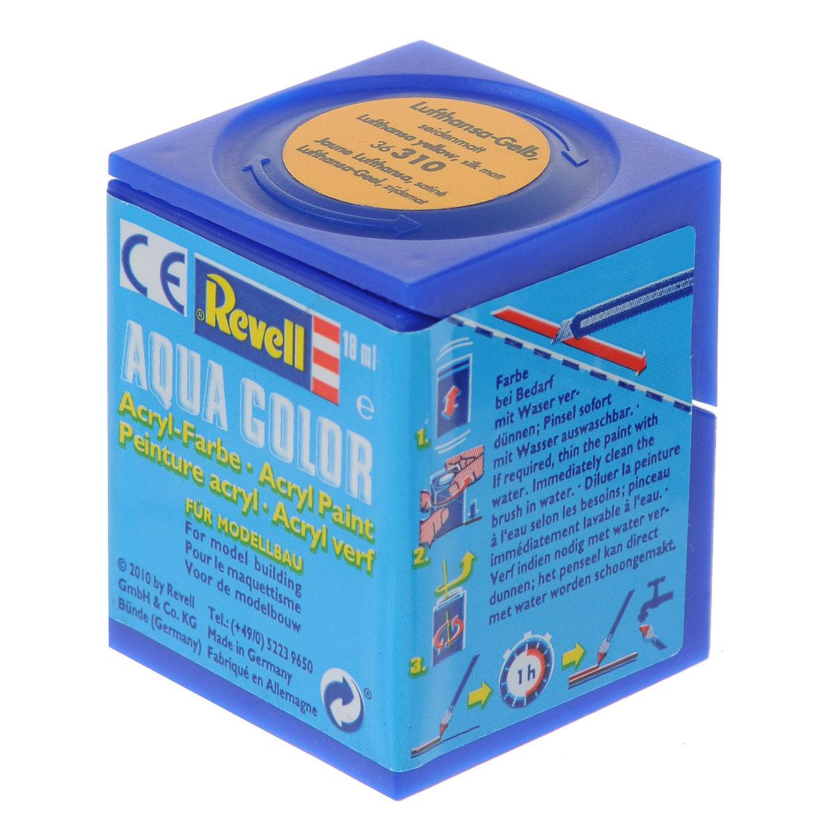 Revell Аква-краска шелково-матовая цвет желтый 18 мл36310Краски для моделей Revell - это высококачественный материал для покраски ваших моделей. Данная краска служит для окрашивания пластиковых поверхностей сборных моделей Revell. В баночке содержится 18 мл краски с шелково-матовым эффектом. В случае необходимости различные оттенки эмали могут быть смешаны друг с другом, для разбавления используется Revell Color Mix.