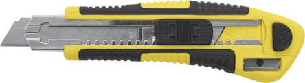 Нож технический FIT, 3 лезвия, 18 мм10265Технический нож FIT имеет пластиковый корпус с прорезиненной вставкой и направляющей из металла, лезвие выполнено из инструментальной стали. Нож также оснащен специальной кнопкой для автоматического стопора лезвия и блокиратором отсека лезвий. В комплекте - 3 отламывающихся лезвия с 3D заточкой. В корпусе ножа расположена точилка для карандашей. Ширина лезвия: 18 мм.