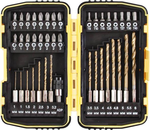 Набор сверел и бит FIT, 40 шт36363Набор сверел и бит FIT включает: - сверла по металлу из быстрорежущей стали HSS c титановым покрытием и хвостовиком под биту - 15 шт.; - 1/4х25 мм биты из хром-ванадиевой стали - 24 шт; - магнитный адаптер для быстрой смены бит и сверел. 25 мм биты: - крестовая: PH0, 1, 2 (5 шт), 3; - позидрайв: Pz0, 1, 2 (5 шт), 3; - звездочка: Т9, 10, 15, 20, 25, 27, 30, 40. HSS сверла: - хвостовик под биту: 2х1,0 мм; 1,5 мм; 2 мм; 2,5 мм; 3 мм; 3,2 мм; 2х3,5 мм; 4 мм; 4,5 мм; 4,8 мм; 5 мм; 5,5 мм; 6 мм. Для хранения предусмотрен пластиковый чемоданчик. Материал: хром-ванадиевая сталь, сталь с титановым покрытием, пластик. Длина биты: 25 мм. Размер чемоданчика: 10 см х 18 см х 5 см.