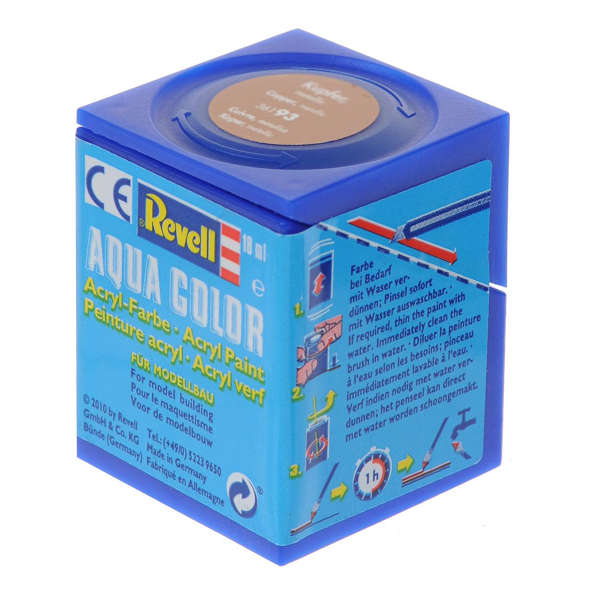 Revell Аква-краска металлик цвет медный 18 мл36193Краски для моделей Revell - это высококачественный материал для покраски ваших моделей. Данная краска служит для окрашивания пластиковых поверхностей сборных моделей Revell. В баночке содержится 18 мл краски с эффектом металлик. В случае необходимости различные оттенки эмали могут быть смешаны друг с другом, для разбавления используется Revell Color Mix.