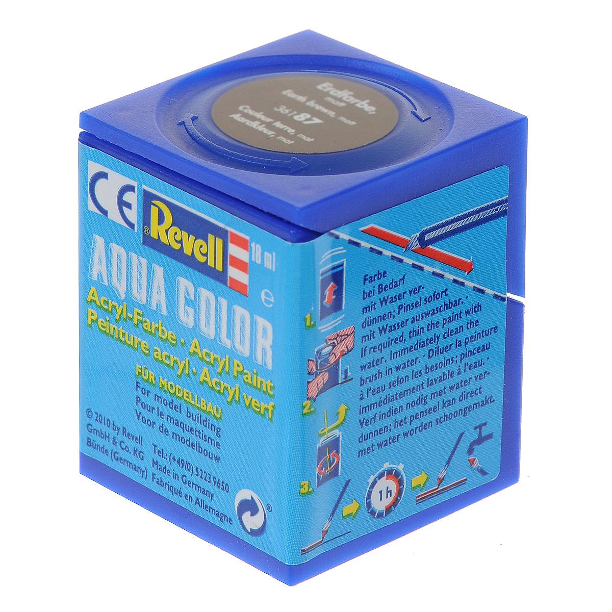 Revell Аква-краска матовая цвет темно-коричневый 18 мл36187Краска для моделей Revell - это высококачественный материал для покраски ваших моделей. Данная краска служит для окрашивания пластиковых поверхностей сборных моделей Revell. В баночке содержится 18 мл матовой краски. В случае необходимости различные оттенки эмали могут быть смешаны друг с другом, для разбавления используется Revell Color Mix.