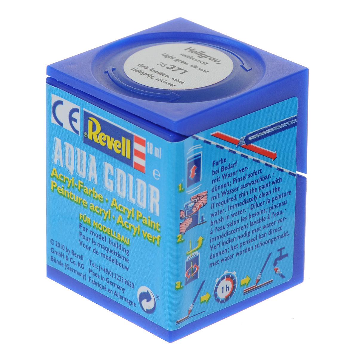 Revell Аква-краска шелково-матовая цвет светло-серый 18 мл36371Краски для моделей Revell - это высококачественный материал для покраски ваших моделей. Данная краска служит для окрашивания пластиковых поверхностей сборных моделей Revell. В баночке содержится 18 мл краски с шелково-матовым эффектом. В случае необходимости различные оттенки эмали могут быть смешаны друг с другом, для разбавления используется Revell Color Mix.