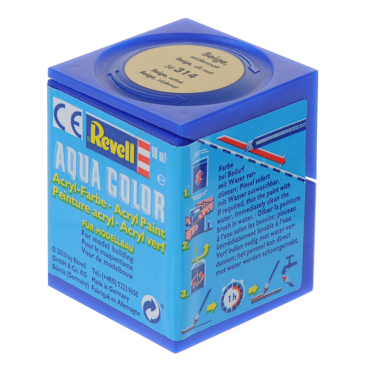 Revell Аква-краска шелково-матовая цвет бежевый 18 мл36314Краски для моделей Revell - это высококачественный материал для покраски ваших моделей. Данная краска служит для окрашивания пластиковых поверхностей сборных моделей Revell. В баночке содержится 18 мл краски с шелково-матовым эффектом. В случае необходимости различные оттенки эмали могут быть смешаны друг с другом, для разбавления используется Revell Color Mix.