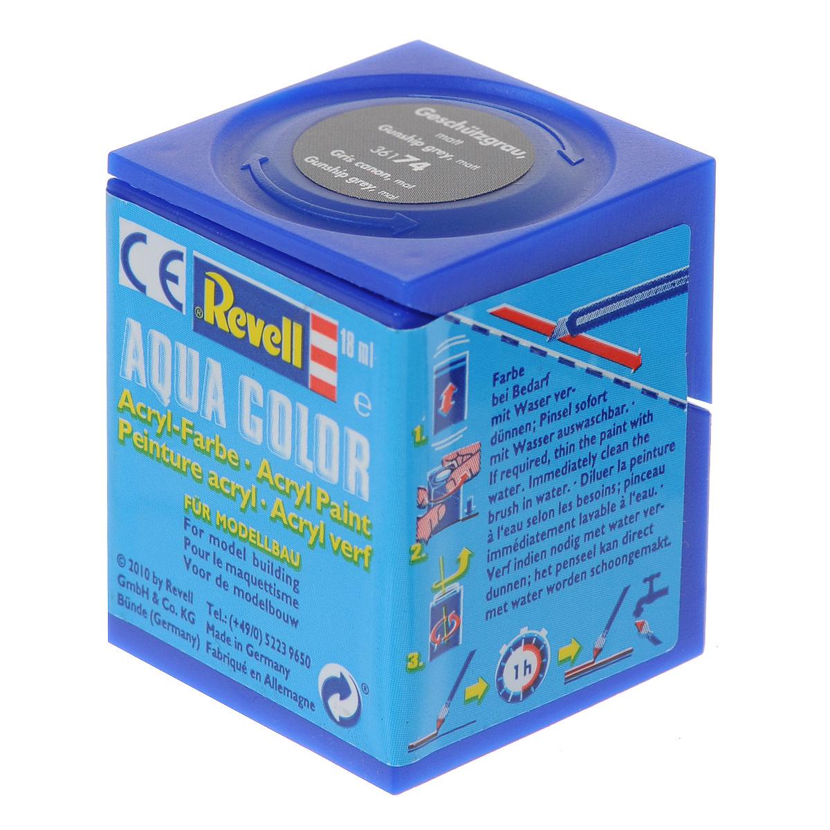 Revell Аква-краска матовая цвет оружейно-серый 18 мл36174Краски для моделей Revell - это высококачественный материал для покраски ваших моделей. Данная краска служит для окрашивания пластиковых поверхностей сборных моделей Revell. В баночке содержится 18 мл краски с матовым эффектом. В случае необходимости различные оттенки эмали могут быть смешаны друг с другом, для разбавления используется Revell Color Mix.