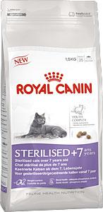 Корм сухой Royal Canin Sterilised 7+, для стерилизованных кошек в возрасте старше 7 лет, 1,5 кг4566Сухой корм Royal Canin Sterilised 7+ - корм для стерилизованных кошек старше 7 лет. Стерилизация увеличивает среднюю продолжительность жизни кошки, но также повышает риски возрастных заболеваний. Например, у стерилизованных кошек с возрастом повышается риск образования мочевых камней. Поддержание здоровья в старости. Корм помогает сохранять молодость кошки благодаря запатентованному* комплексу витаминов и питательных веществ с антиоксидантными свойствами и полифенолам зеленого чая и винограда. Хондропротекторные вещества и незаменимые жирные кислоты EPA и DHA, содержащиеся в этом продукте, поддерживают здоровье суставов кошки. Контроль веса тела: корм помогает сохранять оптимальный вес стерилизованной кошки за счет контроля потребления калорий и крахмала. Добавление L-карнитина (100 мг/кг) способствует мобилизации жировых отложений. Обеспечение здоровья почек – адекватное содержание фосфора: адаптированный уровень фосфора (0,79%)...