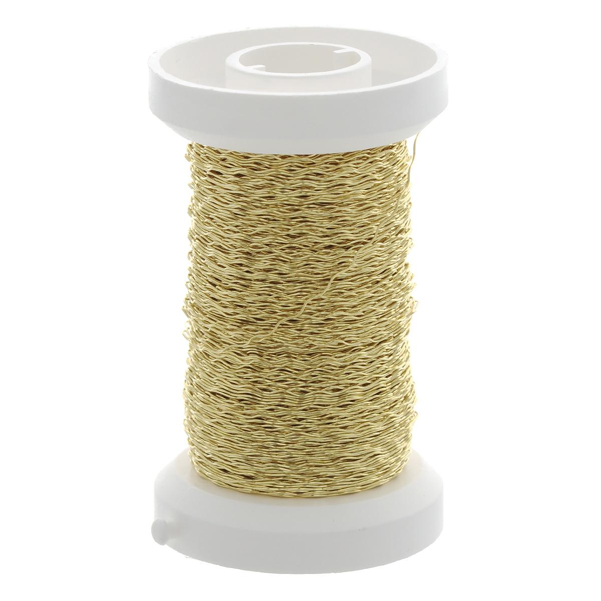 Проволока декоративная металлическая Hobby Time, цвет: золотой, 0,25 мм х 60 м318021Проволоку Glorex можно использовать для создания различных изделий бижутерии, для декора фотоальбомов, домашнего интерьера и других целей. Проволока - это очень распространенный и легкодоступный материал. Ее изготавливают из разных металлов и покрывают лаками разных цветов, благодаря чему она обладает прекрасными декоративными свойствами. Проволока является хорошим материалом для плетения, а для достижения эффектного украшения можно сочетать несколько цветов проволоки.