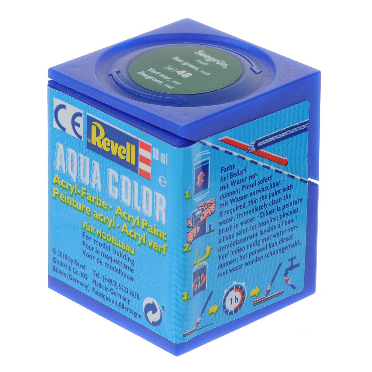 Revell Аква-краска матовая цвет морская волна 18 мл36148Краски для моделей Revell - это высококачественный материал для покраски ваших моделей. Данная краска служит для окрашивания пластиковых поверхностей сборных моделей Revell. В баночке содержится 18 мл краски с матовым эффектом. В случае необходимости различные оттенки эмали могут быть смешаны друг с другом, для разбавления используется Revell Color Mix.